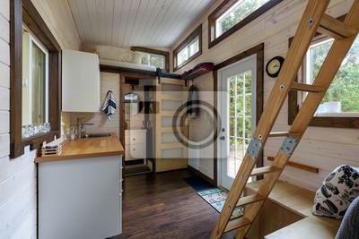 Fototapeta Projekt wnętrza jadalni i kuchni w maleńkiej chatce z bali.