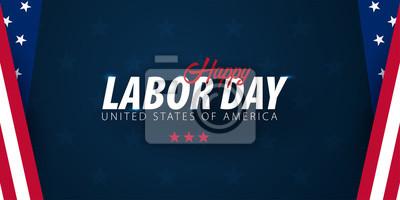 Fototapeta Promocja sprzedaży Święta Pracy, reklama, plakat, baner, szablon z amerykańską flagą. Tapeta amerykańskiego święta pracy. Rabat na kupony