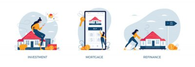 Fototapeta Property banners set. House-buying, mortgage refinancing, real estate investment. Invest in house, property purchase, loan refinance concepts collection for web design.Modern flat vector illustration