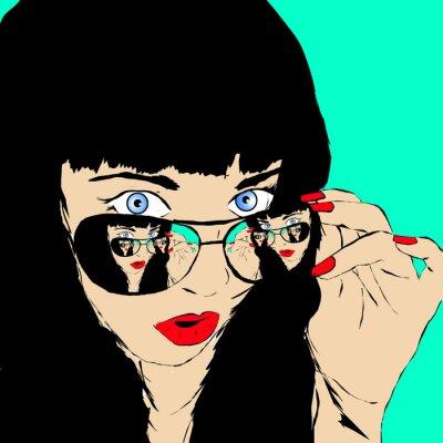 Fototapeta Przebojowa dziewczyna o czerwonych ustach z oldschoolowymi okularami