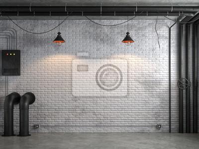 Fototapeta Przemysłowy loft styl pusty pokój z białym ściana z cegieł 3d odpłaca się, Są biały ceglany ściana i polerująca betonowa podłoga dekorują z czarną stalową tubką.