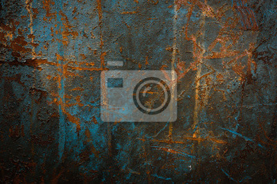 Fototapeta Przemysłowy tło z rdzą na starym żelazo talerzu