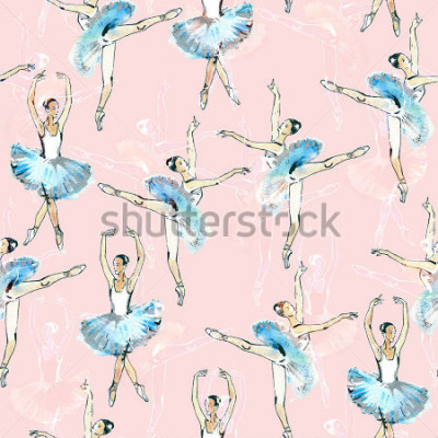 Fototapeta Przenoszony wzór baletniczy tancerze, czarny, biel i srebrny rysunek, akwarela obraz, dostęp do różowego tła.