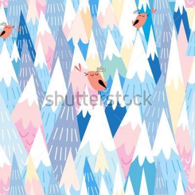 Fototapeta Przenoszony wzór piękna grafika góry i ptaki w miłości