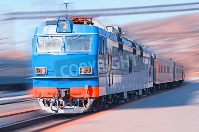 Fototapeta Przeprowadzka pociągu na stacji kolejowej