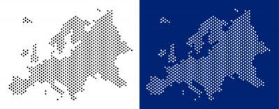 Fototapeta Przerywana mapa Europy. Wektorowa mapa geograficzna na białym i błękitnym tle. Wektor koncepcja mapa Europy zbudowany z punktów rundy.