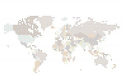 Fototapeta Przerywana Mapa świata kwadratowych kropek