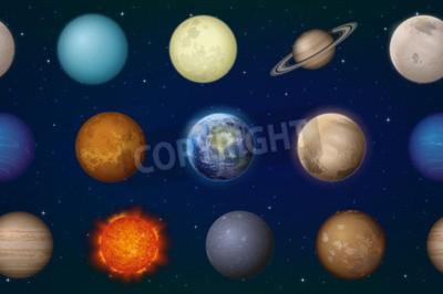 Fototapeta Przestrzeń bez szwu tła z planety Układu Słonecznego Słońce, Ziemia, Księżyc, Merkury, Wenus, Mars, Jowisz, Saturn, Uran, Neptun, Pluton i Charon. Elementy dostarczone przez NASA, http://solarsystem.n