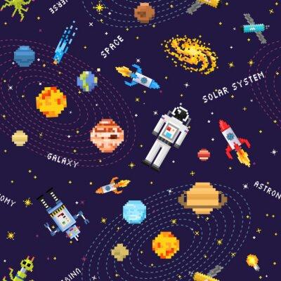 Fototapeta przestrzeń bezszwowe tło wzór, kosmita kosmita, rakieta robota i kostki satelity planet Układu Słonecznego pixel art, cyfrowy styl gry vintage. Rtęć, Wenus, Ziemia, Mars, Jowisz, Saturn.