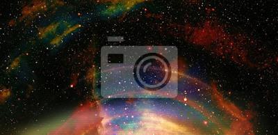 Fototapeta Przestrzeni kosmicznej i gwiazd z kręgu światła, kolor kosmiczne streszczenie tle.