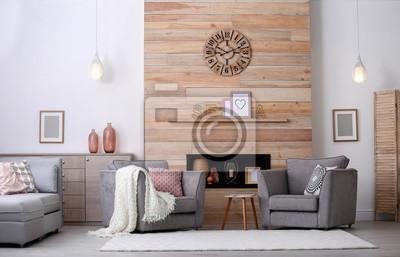 Fototapeta Przytulnie urządzony apartament z niszą w drewnianej ścianie i fotelu. Projektowanie wnętrz