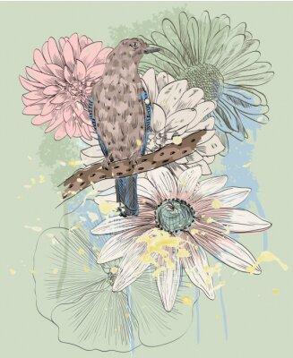 Fototapeta ptak i kwiat