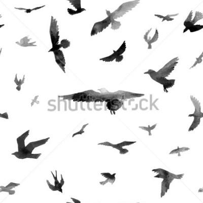 Fototapeta Ptaki. Wzór Akwarela. Ilustracja rastrowa.