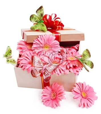 Pudełko z kwiatami.