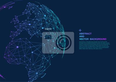 Fototapeta punkt i linia składa mapę świata, reprezentujące globalne, globalne połączenie sieciowe, międzynarodowe znaczenie.