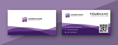 Fototapeta purple business card design. modern wavy theme, double sided business card design
