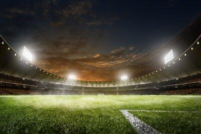 Fototapeta Pusta noc wielkie piłkarskie areny w światłach