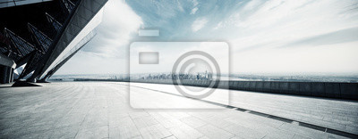 Fototapeta pusta podłoga z nowoczesnym pejzażem miejskim w Nowym Jorku