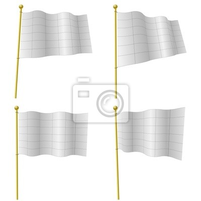Fototapeta Puste białe flagi szablon z czarnej siatki
