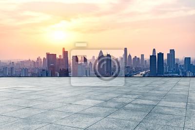 Fototapeta Pusty kwadrat przed tianjin panorama miasta, Chiny.
