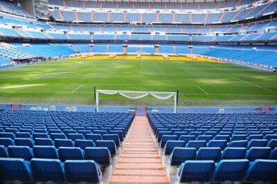 Fototapeta Pusty stadion piłkarski z niebieskimi siedzeniami, bramy zwijane