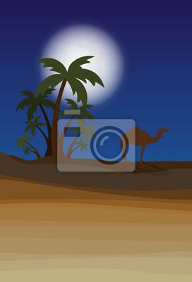 pustynia z palmową nocą