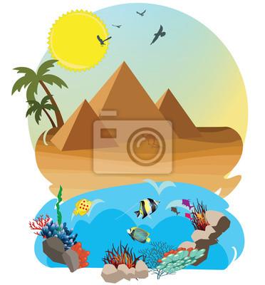 Pustynia z piramidą i czerwonym morzem