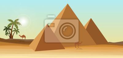 pustynia z piramidą i palmą