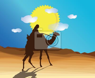 pustynia z wielbłąda i Beduinów