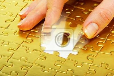 Fototapeta puzzle złoto
