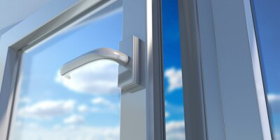 Fototapeta PVC aluminum metal frame with two glasses closeup. 3D illustration