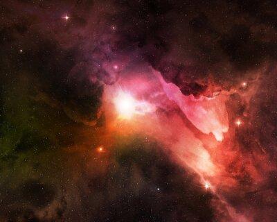 Fototapeta pyłu kosmicznego świeci w rozgwieżdżone niebo