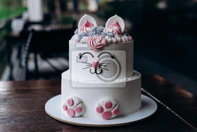 Fototapeta pyszne ciasto w postaci kota na urodziny dziecka