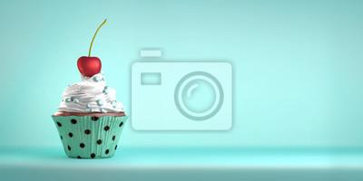 Fototapeta Pyszne cupcake z wiśni z bitą śmietaną i sweeties. Wisienka na torcie metafory. Skopiuj miejsca.