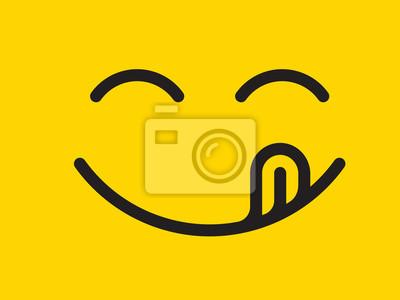 Fototapeta Pyszne emotikon linii kreskówka uśmiech z językiem lizać usta. Pyszne jedzenie smaczne jedzenie twarzy emoji na żółtym tle projektu