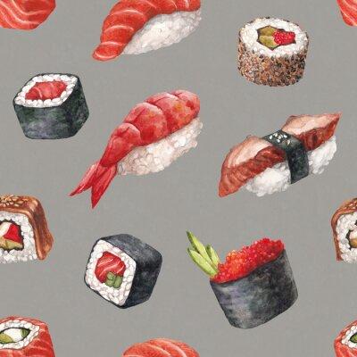 Fototapeta Pyszne sushi. Akwarela bez szwu deseń