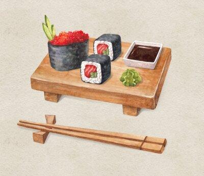 Fototapeta Pyszne sushi. Akwarele ilustracji