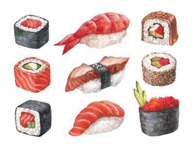 Fototapeta Pyszne sushi. Watercollor ilustracje
