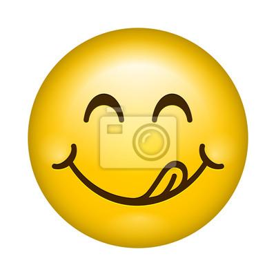 Fototapeta Pyszne uśmiech linii kreskówki wektor emotikon lizać wargi językiem. Pyszne smaczne jedzenie emoji twarz ikona na białym tle
