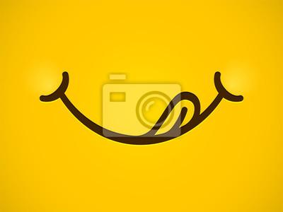 Fototapeta Pyszny uśmiech wektor kreskówka linia emotikon lizać usta ustami z języka. Wyśmienicie smakowity łasowania emoji stawia czoło żółtego tło
