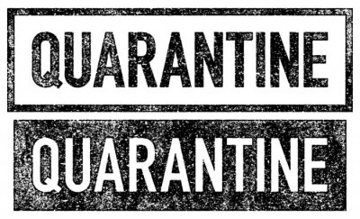 Fototapeta Quarantine Stamp. Eroded stamp with a detailed, rough print texture.