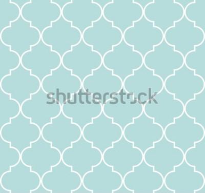 Fototapeta Quatrefoil geometryczny bezszwowy wzór, tło, wektorowa ilustracja w miętowym błękicie, miękki turkusowy kolor i biel.