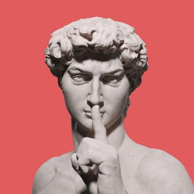 Fototapeta Quite please sign hand gesture David sculpture, stay silent, top secret. 3d rendering