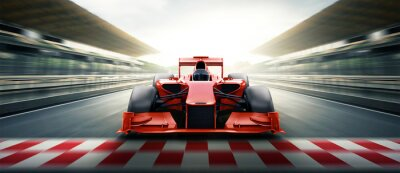 Fototapeta Race driver pass the finishing point and motion blur backgroud. 3D rendering