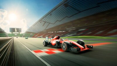 Fototapeta Race driver pass the finishing point and motion blur background during sunrise. 3D rendering