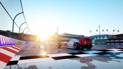Fototapeta Racer of formula 1 in a racing car. Race and motivation concept. Wonderfull sunset. 3d rendering.