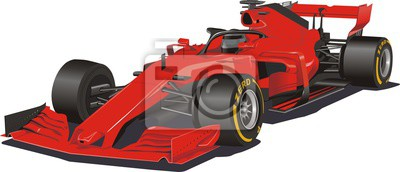 Fototapeta Racing car in the vector. Formula 1. Red car on white background