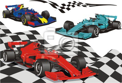 Fototapeta Racing cars on the background of the checkered flag.