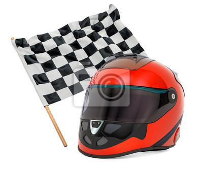 Fototapeta Racing helmet with chequered flag, 3D rendering