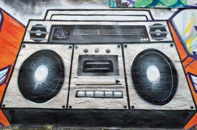 Fototapeta radiomagnetofon jako graffiti na ścianie
